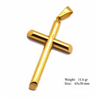 Cross Pendant Charm Jesus 18k Yellow G/F Gold Solid Mens Women Design
