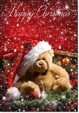 Pack of 10 Premium Christmas Cards & Envelopes Cute Bear Gloss Varnished