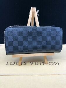 LV1374 LOUIS VUITTON Damier Graphite Canvas Zip Around Long Wallet  Make offer!