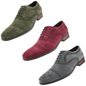 Men's Dress Shoes, Genuine Cow Suede Leather Cap Toe Oxfords, Lace Up Dress Shoe