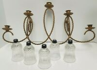 Vintage 5 Candle Holder Gold Twisted Metal Rope Wall Sconce & Votives Boho 70-80