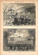Incendie du Palacio Real de Barcelone/Hôtel de Ville de Bordeaux GRAVURE 1876