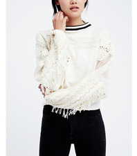 8649 Nwd Free People Marakesh Embellished Fringe Sweater Pullover Blouse Top XL