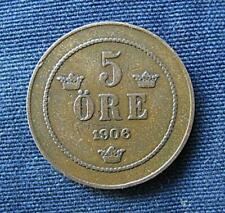 Munt Zweden/Sverige: 5 Öre 1906 in zeer fraai