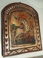 BYZANTINE HAND MADE ICON OF ST. GEORGE WITH CERTIFICATE OF REPRODUCTION