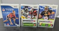 Wii Games Lot of 3 - Madden 10 & 11, NFL Training Camp, Tested