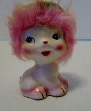 Mid Century Vintage  Cat Ceramic Figurine w/Fur & Hat Japan 1950s-c4