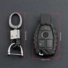 For Mercedes-Benz Carbon Fiber Smart Car Key Case Cover Fob Holder Accessories