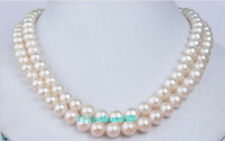 "Double strands AAA 7-8mm natural White Akoya round pearl necklace 17"" 18"" 14k"