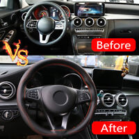 38cm Universal Real Leather DIY Car Steering Wheel Cover Auto Protection Needle