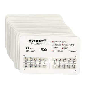 20Packs ES AZDENT Dental Orthodontic Brackets Brace Standard Roth 022 3 4 5Hooks