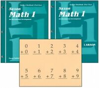 SAXON MATH 1 HOMESCHOOL STUDENT WORKBOOKS & FACT CARDS With MEETING BOOK -  NEW!