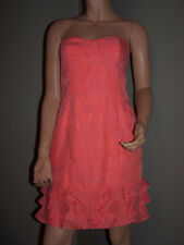 LILLY PULITZER Women's Coral Tone on Tone Floral Strapless Ruffled Dress 4 EUC