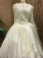 VINTAGE CLAUDINE BEUCHE TEA LENGTH WEDDING DRESS RENAISSANCE FAIRE GOWN SZ 15/16