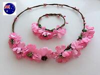 Girl Women Beach Flower boho head hair headband Accessory Hoop Bracelet set Prop