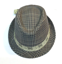 NEW Ole Headwear Fedora Hat Brown and Gray Plaid Direct