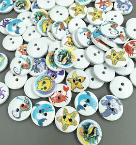 100pcs fish Starfish combination pattern White Round Wooden Buttons Sewing 15mm