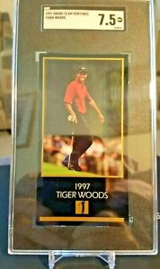 """""""TIGER WOODS"""" Grand Slam Ventures 1997 Rookie SGC 7.5 NM """"Newly graded"""""""