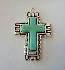 stone in Pretty Cross Charm Pendant Pewter Silver 41x29mm Turquoise Color faux