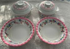 Ping's Melamine Ware Set Of (2) Bowls & Two Covered Serving Bowls Pink Floral