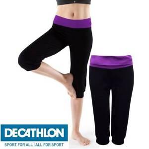 DECATHLON LADIES BLACK CROPPED YOGA PANTS GYM RUNNING ORGANIC COTTON S,M,L,XL