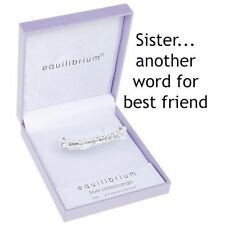 "Silver Plated Engraved Bangle Bracelet ""Sister ...another word for best friend"""