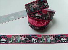 Ruban Multicolore/rose gros grain Monster High 25 mm , vendu au mètre , Ribbon .