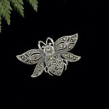 Beautiful Quality Solid Sterling Silver Marcasite Bee Brooch Pin Apiarist Gift
