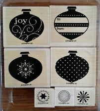 Stampin' Up DELIGHTFUL DECORATIONS Set 7 Rubber Stamps Lot Christmas Ornament