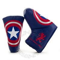 Captain America Blade Midsize Mallet Putter Head cover, 3-layer Heavy Duty, Blue