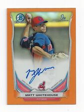 2014 Bowman Chrome Matt Whitehouse Orange Refractor Autograph Auto #/25 Indians
