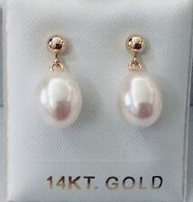 14k Yellow Gold Grey Fresh Water Cultured Pearl Dangle Earrings