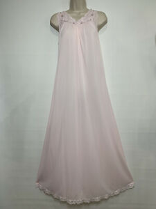 Vintage Stunning Shadowline Nightgown Sz S Full Length Nylon Pink Lace Rosebuds