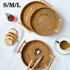 Hand Woven Rattan Storage Basket Bread Fruit Round Tray With Handle Food Display