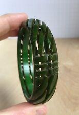 Vtg Heavy Carved Pierced Marbled Creamed Spinach Green Bakelite Bracelet Tested