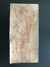 17th Century Italian Baroque Old Master Sepia Drawing of an Archangel -17 inches
