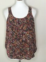 J.Crew Small 100% Silk Floral Sleeveless Brown Pink Women's Top Shirt