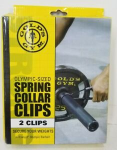 """Golds Gym Olympic Size Spring Collar Clips 2"""" for Barbells New Open Box"""