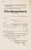 U.S. F.R. Rice Mercantile Cigar Co. St. Louis 1913 Paid Perforated Invoice 42354