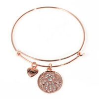 "1 or 3 ""On Trend""  RHINESTONE ROSE GOLD Plated Wire Bangle Bracelet - lady-muck1"