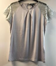 Marble Lace Sleeve Top Silver Medium TD083 AE 15