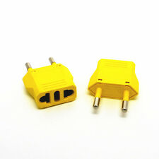 Yellow US/AU to EU AC Power Plug European Travel Wall Charger Converter Adapter