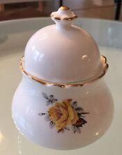 Royal Dover Bone China England Sugar Bowl/Jam Pot  w/ Lid Yellow Roses Gold Trim
