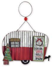 ORNAMENT HAPPY CAMPER METAL VINTAGE CHRISTMAS TRAILER GALVANIZED snow JEWELRY 1