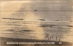 OREGON BARKENTINE OPPOSITE HOTEL SEASIDE OLD REAL PHOTO POSTCARD