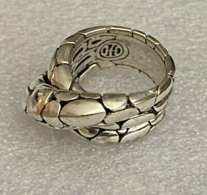 John Hardy Kali Pebble Sterling Silver 925 Crossover Twist Ring Size 8 Retired