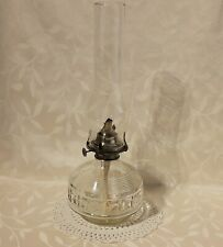Farms Lamplight Antique Vintage Glass Font Oil Lamp with Glass Chimney.