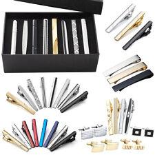 3/8pcs Men Stainless Steel Classic Business Necktie Clip Tie Bar Clip Clasp Set