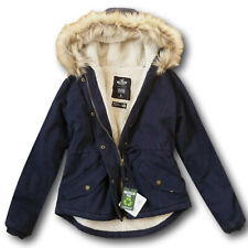 NWT Hollister by Abercrombie&Fitch Women's  Sherpa Fur Lined Anorak Jacket Navy