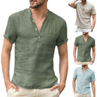 Fashion Men Cotton Linen Short Sleeve V-Neck Solid Casual T-Shirt Tops Plus Size